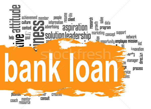 Bank kölcsön szófelhő narancs szalag kép Stock fotó © tang90246