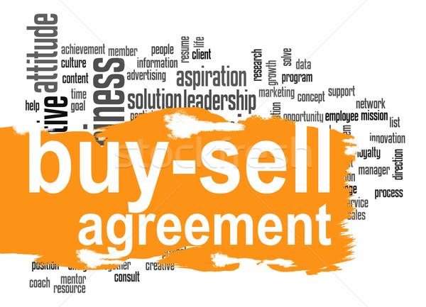 Vásárol elad megállapodás szófelhő narancs szalag Stock fotó © tang90246