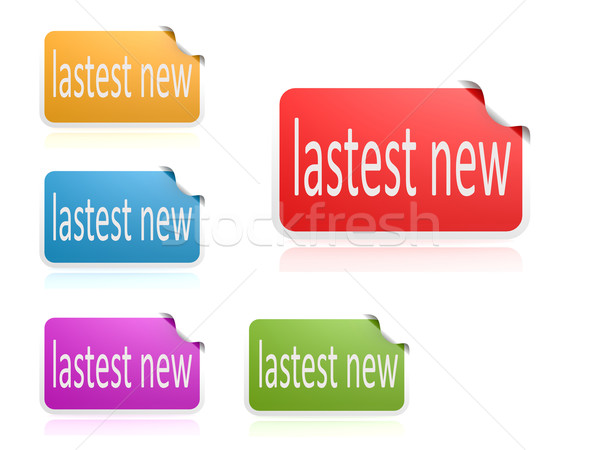 Latest news color label set Stock photo © tang90246