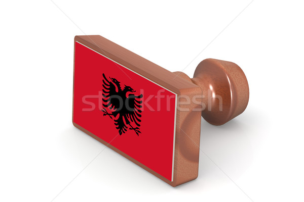 Blank wooden stamp with Albania flag Stock photo © tang90246