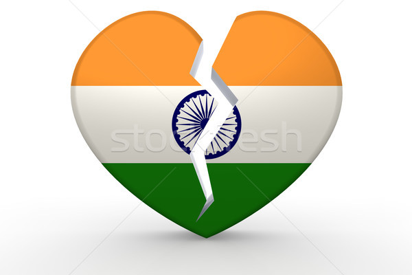 Broken white heart shape with India flag Stock photo © tang90246