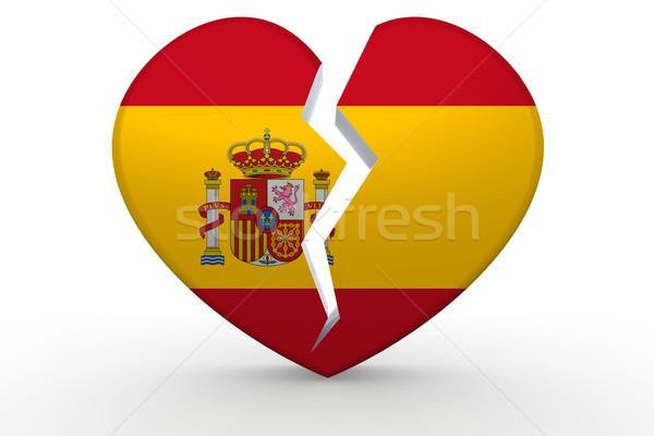 Foto stock: Quebrado · branco · forma · de · coração · bandeira · 3D
