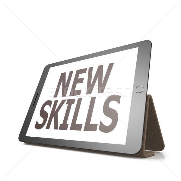 Tablet nieuwe vaardigheden woord afbeelding gerenderd Stockfoto © tang90246