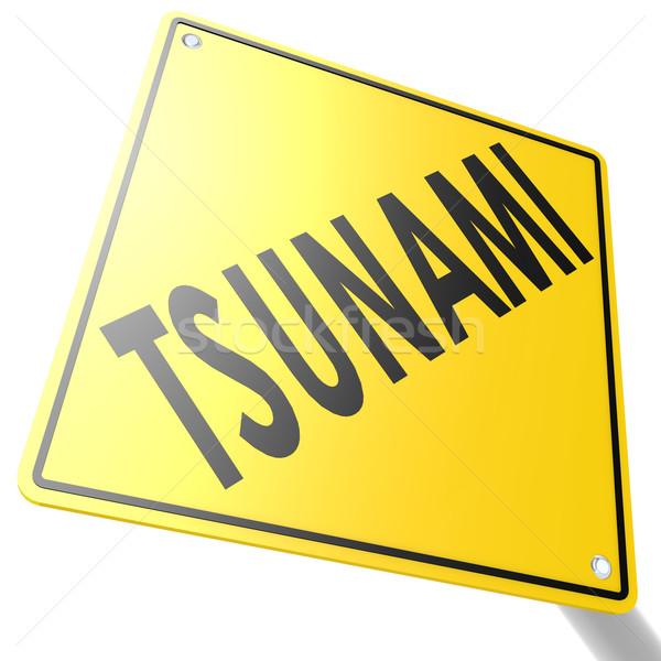 Yol işareti tsunami görüntü render kullanılmış Stok fotoğraf © tang90246