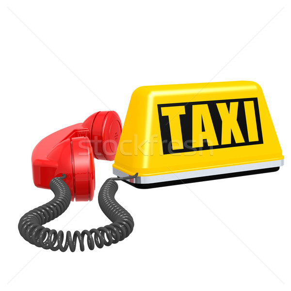 Taxi car sign and telephone on white isolated background Stock photo © tang90246