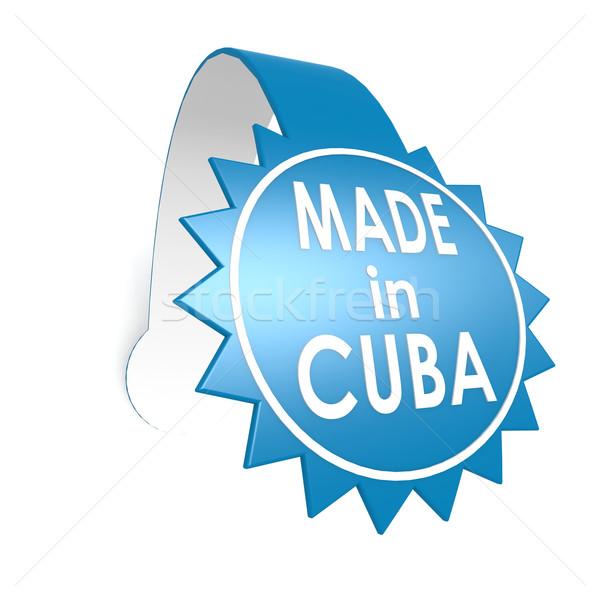 Mavi etiket Küba Internet dizayn arka plan Stok fotoğraf © tang90246