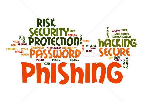 Phishing nuvem da palavra tecnologia comunicação trancar dados Foto stock © tang90246