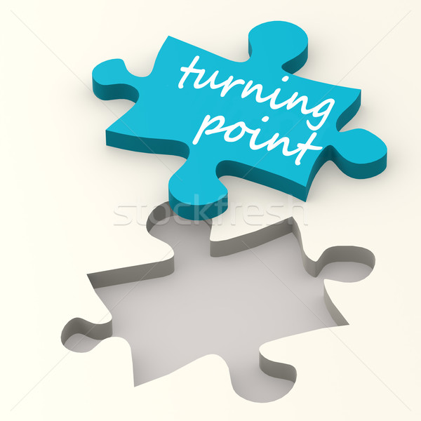 Turning point on blue puzzle Stock photo © tang90246