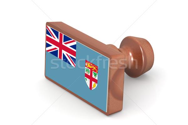 Fából készült bélyeg Fidzsi-szigetek zászló kép renderelt Stock fotó © tang90246