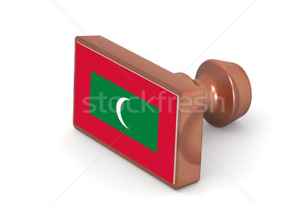 Ahşap damga Maldivler bayrak görüntü render Stok fotoğraf © tang90246