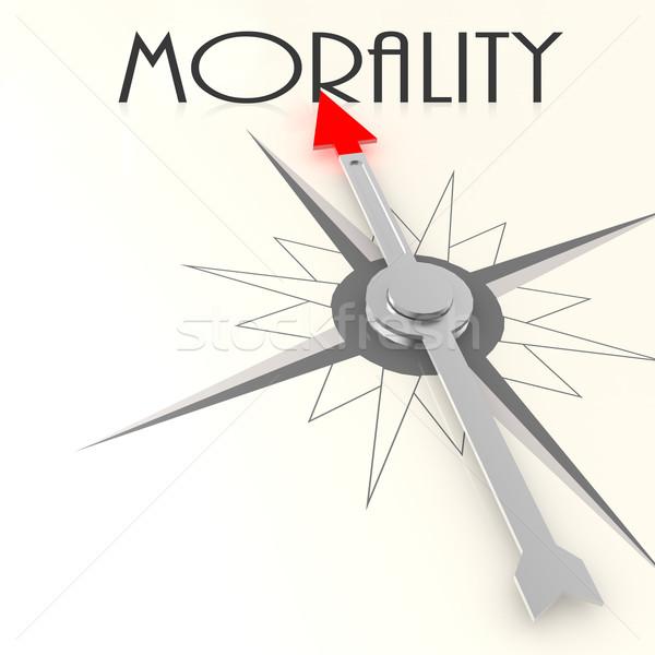 Kompas moraliteit woord afbeelding gerenderd Stockfoto © tang90246
