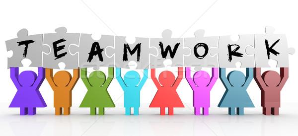 марионеточного головоломки команде слово бизнеса Сток-фото © tang90246