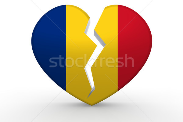 Broken white heart shape with Romania flag Stock photo © tang90246