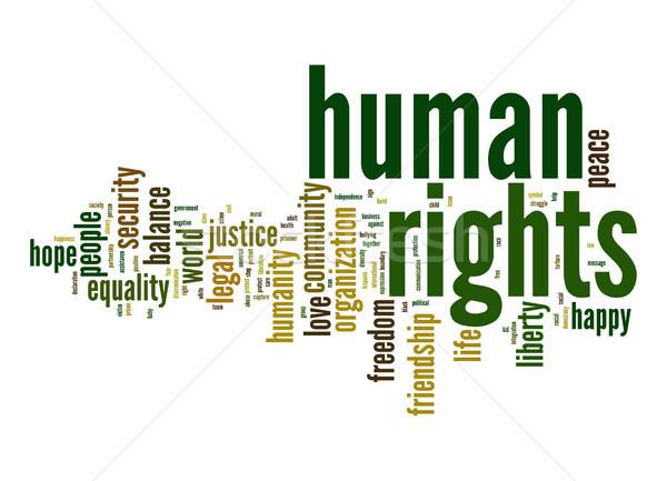 Emberi jogok szófelhő igazság élet egyensúly közösség Stock fotó © tang90246