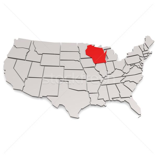 Stock fotó: Wisconsin · térkép · kép · renderelt · mű · használt