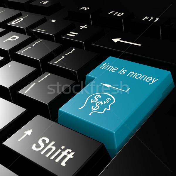 Tijd is geld woord Blauw toetsenbord business Stockfoto © tang90246