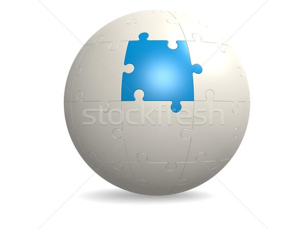Stock fotó: Fehér · puzzle · kék · üzlet · földgömb · építkezés