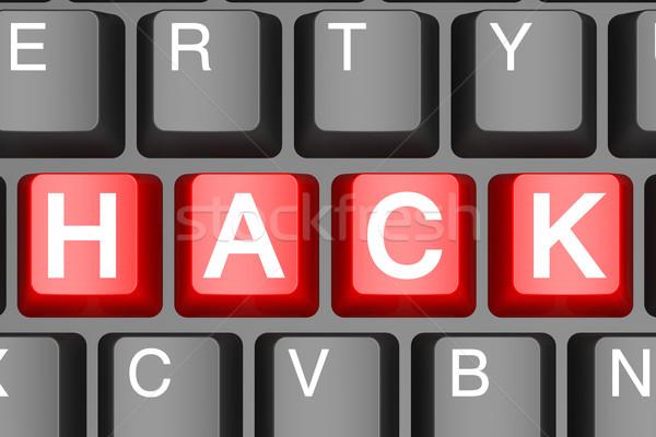 Rot Hacke Taste modernen Computer-Tastatur Bild Stock foto © tang90246
