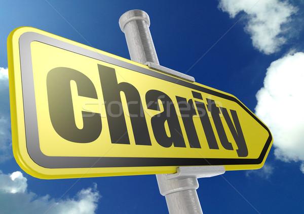 żółty znak drogowy dobroczynność słowo Błękitne niebo obraz Zdjęcia stock © tang90246