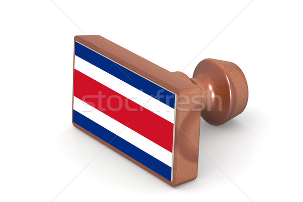 Wooden stamp with Costa Rica flag Stock photo © tang90246