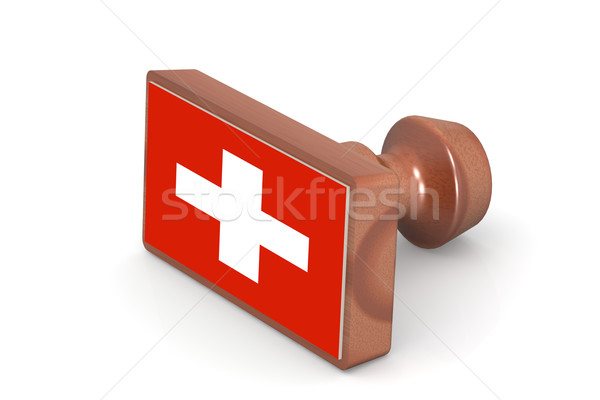 Wooden stamp with Switzerland flag Stock photo © tang90246