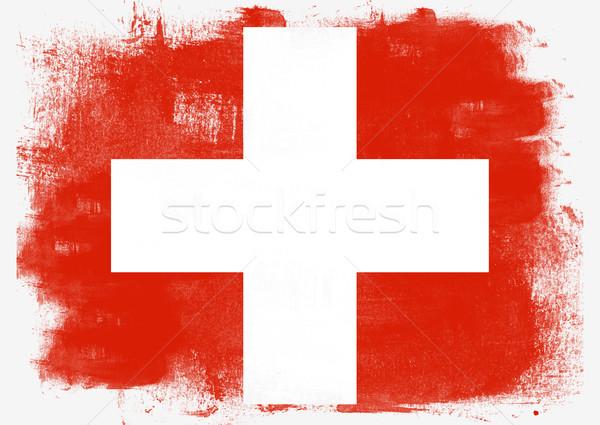 フラグ スイス 描いた ブラシ 固体 抽象的な ストックフォト © tang90246