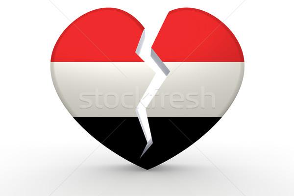 Broken white heart shape with Yemen flag Stock photo © tang90246