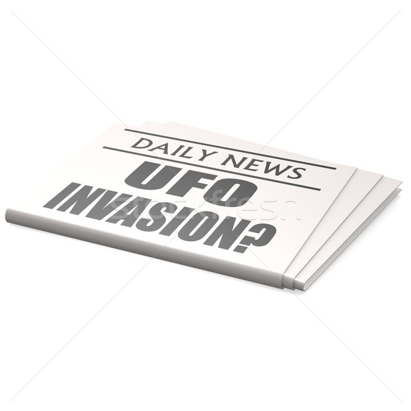 Newspaper UFO invasion Stock photo © tang90246