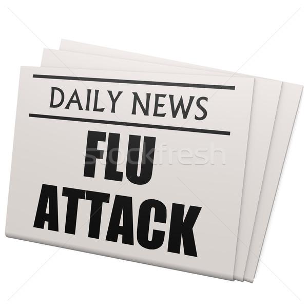Newspaper flu attack Stock photo © tang90246