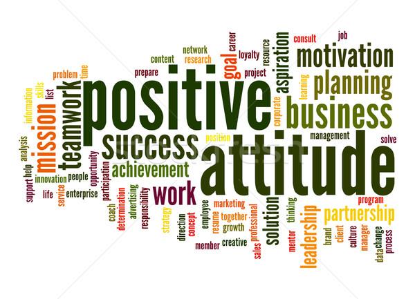 позитивное отношение слово облако бизнеса работу облаке службе Сток-фото © tang90246