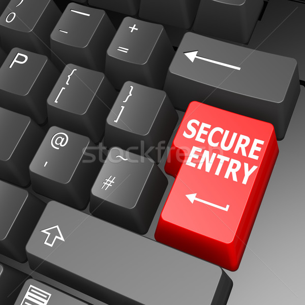 Secure entry key on computer keyboard Stock photo © tang90246