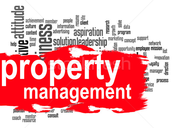 Stock photo: Property management word cloud with red banner