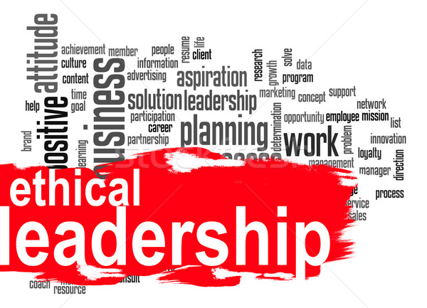 Ethical leadership word cloud with red banner Stock photo © tang90246