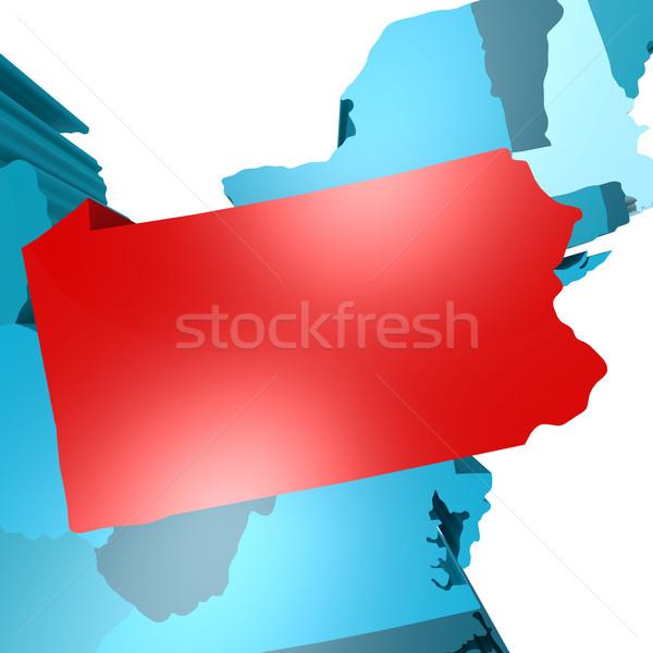 Pennsylvania térkép kék USA kép renderelt Stock fotó © tang90246