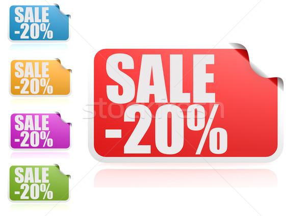 Sale 20% label set Stock photo © tang90246