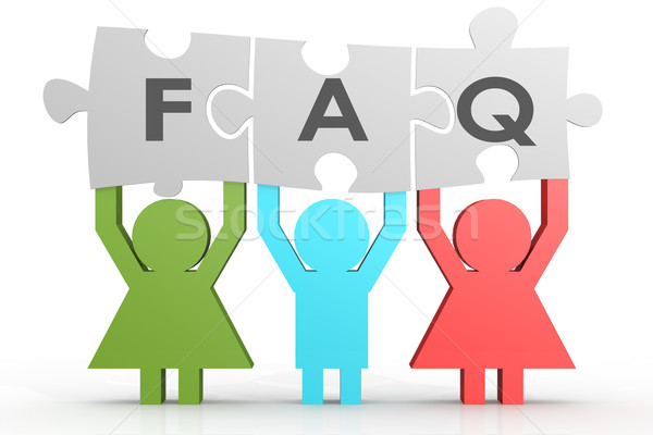 Three people hold FAQ puzzle in a line Stock photo © tang90246