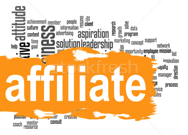 Affiliate word cloud with orange banner Stock photo © tang90246