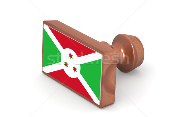 Wooden stamp with Burundi flag Stock photo © tang90246