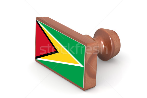 Wooden stamp with Guyana flag Stock photo © tang90246