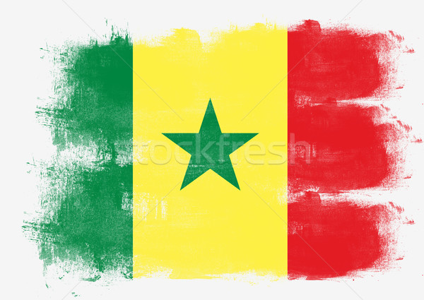 Flag of Senegal painted with brush Stock photo © tang90246