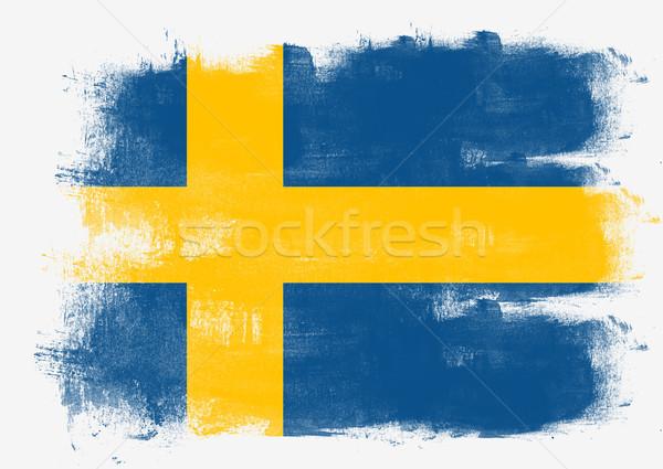 Bandeira Suécia pintado escove sólido abstrato Foto stock © tang90246