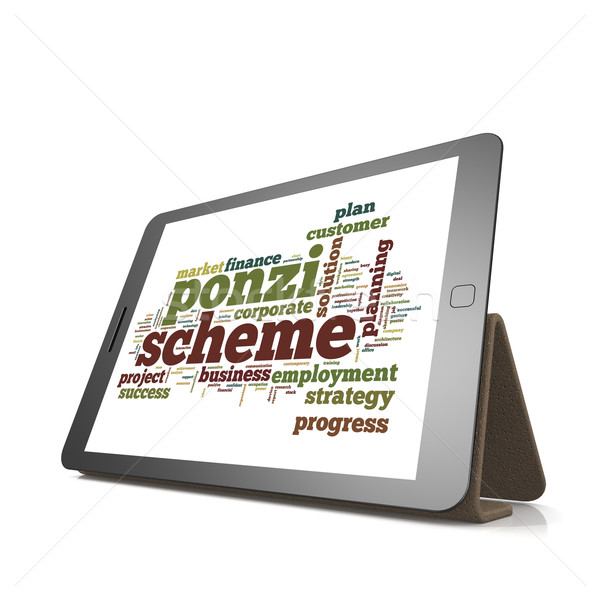 Ponzi scheme word cloud on tablet Stock photo © tang90246