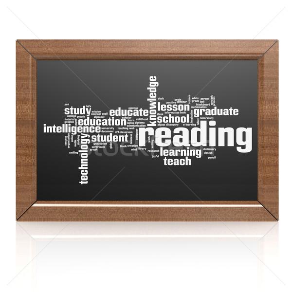 Educación palabra pizarra madera estudiante marco Foto stock © tang90246