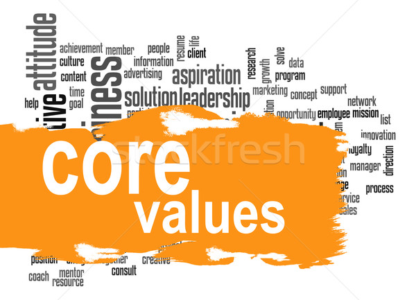 Core values word cloud with yellow banner Stock photo © tang90246