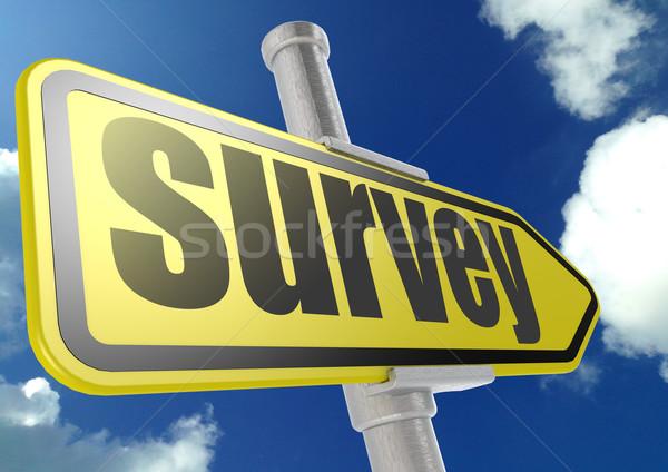 Amarelo placa sinalizadora exame palavra blue sky imagem Foto stock © tang90246