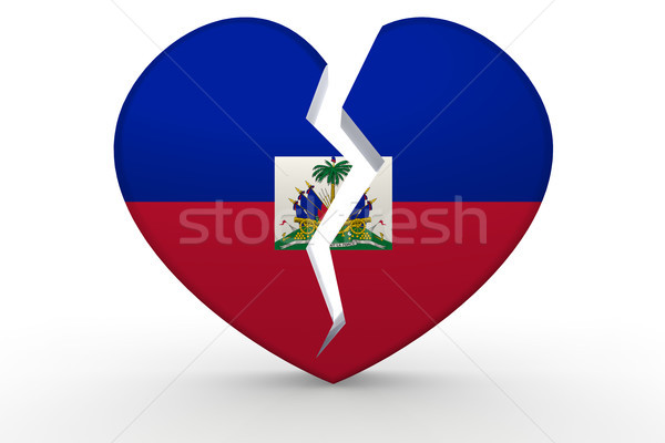 Broken white heart shape with Haiti flag Stock photo © tang90246