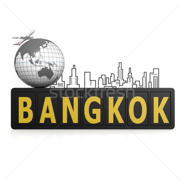Bangkok şehir toprak seyahat kentsel düzlem Stok fotoğraf © tang90246