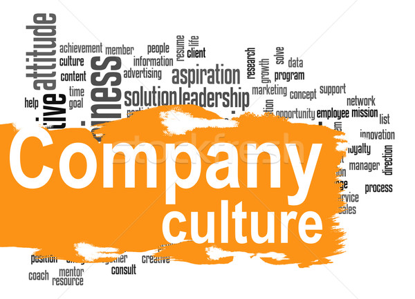 Company culture word cloud with yellow banner Stock photo © tang90246