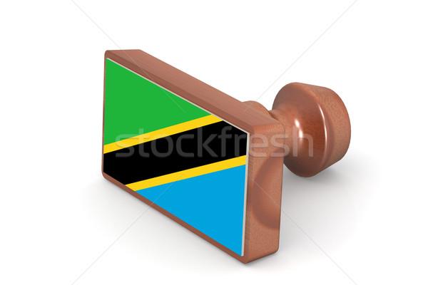 Holz Stempel Tansania Flagge Bild gerendert Stock foto © tang90246