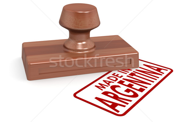 Wooden stamp made in Argentina Stock photo © tang90246